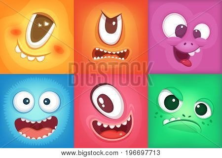 Monster cartoon faces. Demon smiles and big crazy mouth. Vector monster funny, illustration of color demon halloween