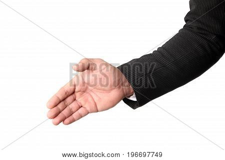 Businessman's hand in suit offering to shake the hand isolated on white background clipping path.