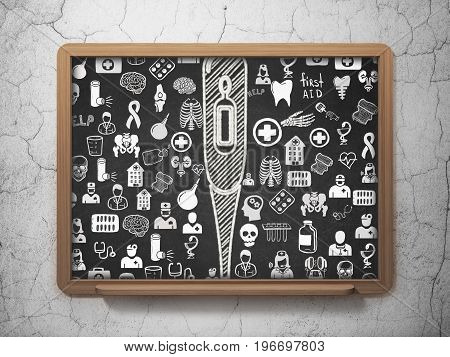 Health concept: Chalk White Thermometer icon on School board background with  Hand Drawn Medicine Icons, 3D Rendering