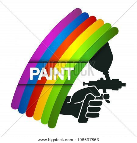 Spray for painting in hand symbol for business