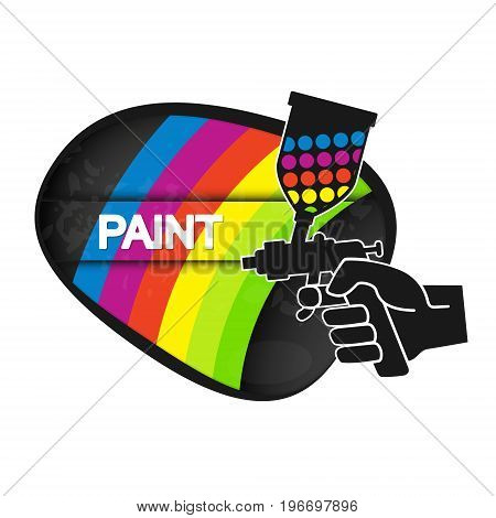Spray for painting in hand illustration painter