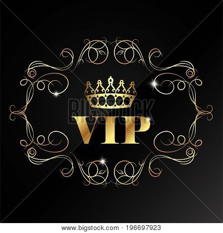 Vip card with crown and pattern illustration