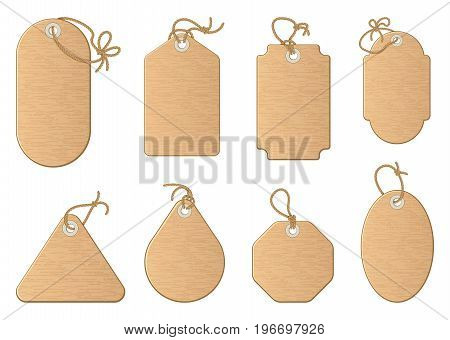 Different shapes of shopping sale tags isolated on white. Vector paper labels. Tag label for sale retail, illustration of blank badge cardboard