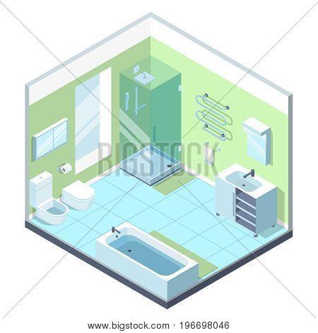 Bathroom interior with different furniture elements. Vector isometric illustration. Interior of furniture isometric bathroom