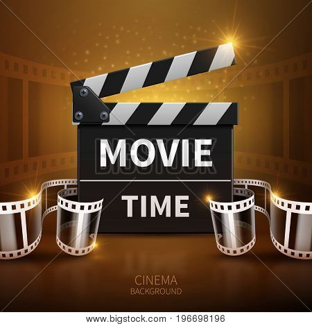 Online movie and television vector background with cinema clapper and film roll. Clapper board for film and cinematography illustration