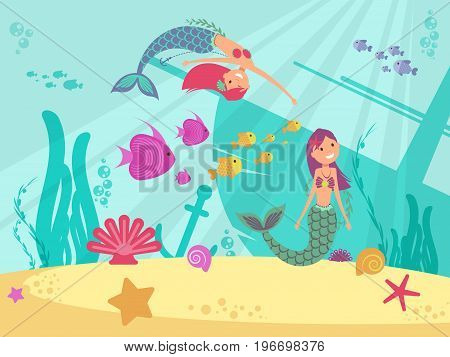 Cartoon fairytale underwater vector background with mermaids. Fish girl undersea, mythological wild princess illustration