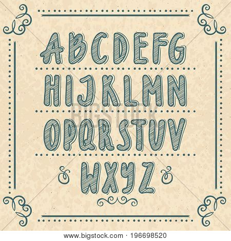 Hand drawn alphabet with doodle letters. Vector illustrations set. Vintage alphabet text, sketch doodle typography abc