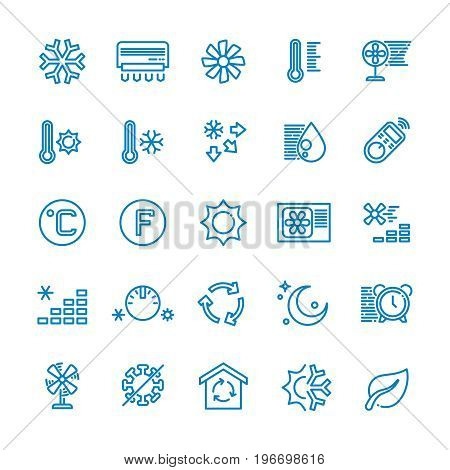 Air conditioning vector line icons. Temperature, humidity, drying, cooling and heating pictograms. Climate conditioner system equipment illustration