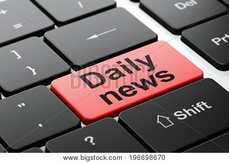 News concept: computer keyboard with word Daily News, selected focus on enter button background, 3D rendering