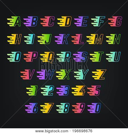 Energy color alphabet. Letters with speed lines. Graffiti or sports vector font. Alphabet with speed effect, lettering alphabetical illustration