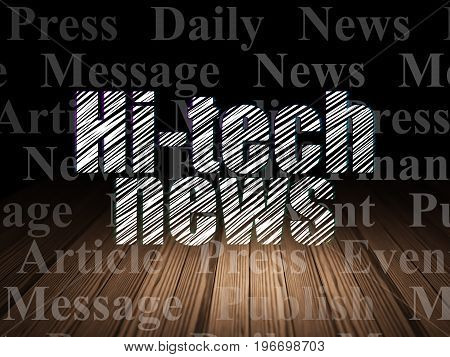 News concept: Glowing text Hi-tech News in grunge dark room with Wooden Floor, black background with  Tag Cloud