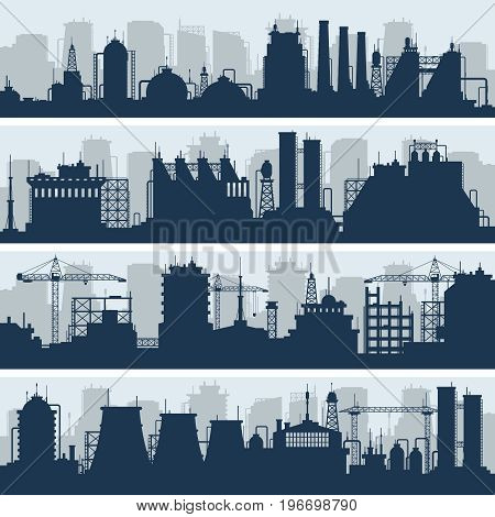 Industrial vector skylines. Modern factory and works building silhouettes. Urban industry factory and plant structure illustration