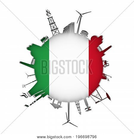 Circle with industry relative silhouettes. Objects located around the circle. Industrial design background. Flag of Italy in the center. 3D rendering.
