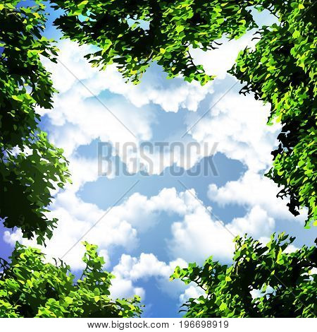View of the sky through the trees, vector art illustration.