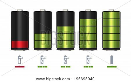 Process of recharging battery. Minimum and full charge. Vector illustration energy power battery empty and full indicator