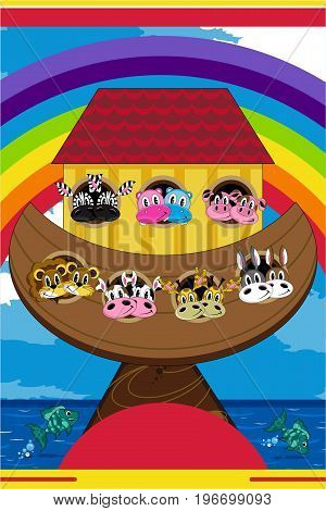 Cute Cartoon Noah's Ark with Animals Biblical Illustration