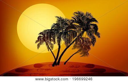 Palm trees at sunset vector art illustration.