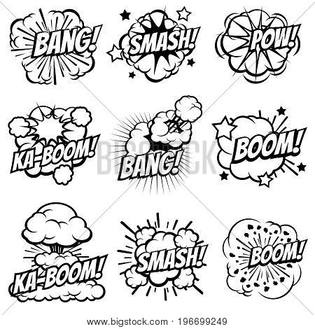 Cartoon explode icons. Comic book explosion bubbles. Pop art big bang and boom smoke clouds vector set. Blast cloud smoke, comic explosion bang and boom illustration