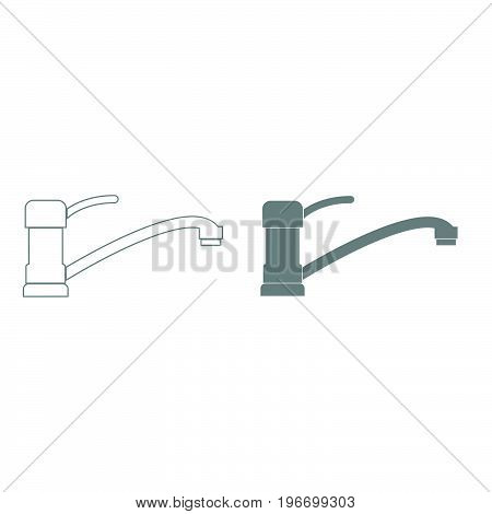 Tap Or Faucet Sign Grey Color Set Icon .