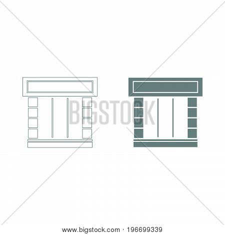 Shopfront Grey Color Set Icon .