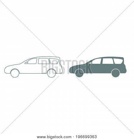 Car Grey Color Set Icon .