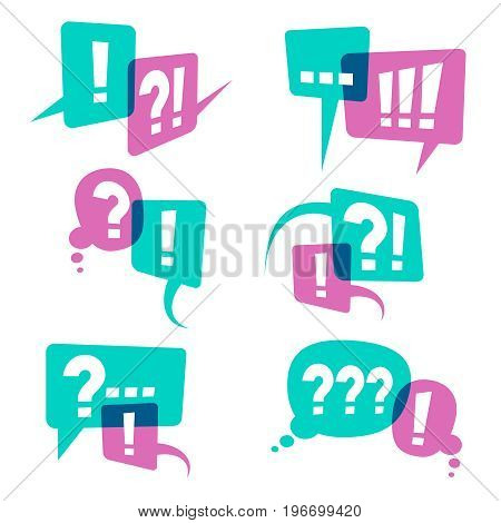 Question marks on speech bubbles icons. Business query vector concept. Discussion communication chat question bubble and answer illustration