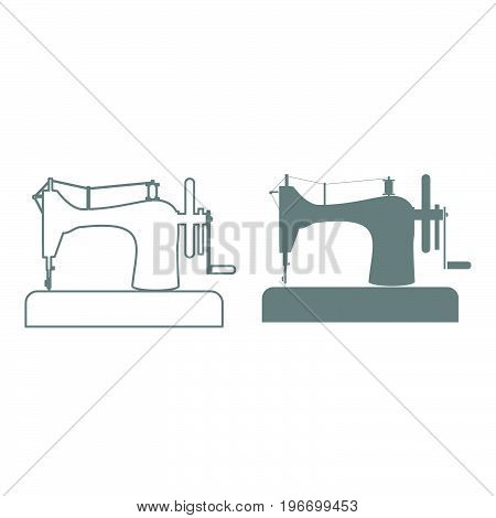 Sewing Machine Grey Color Set Icon .