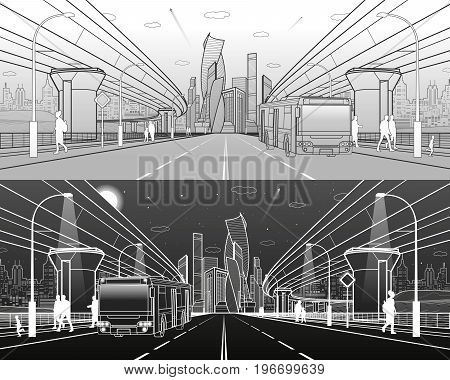 The passengers left bus. Transportation bridge. Wide highway. Urban infrastructure, modern city on background, industrial architecture. People walking, night scene, vector design art