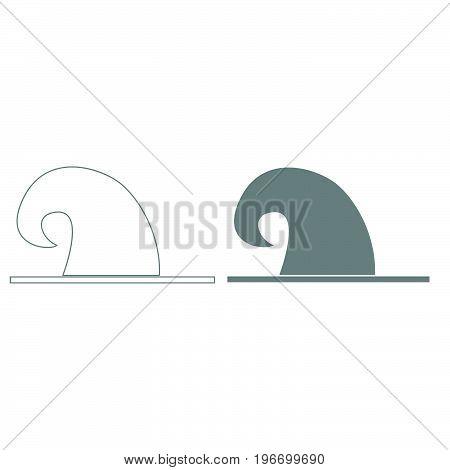 Wizard Hat Grey Color Set Icon .
