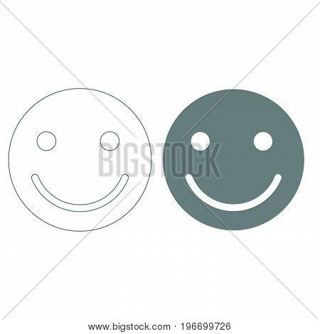 Smile Grey Color Set Icon .