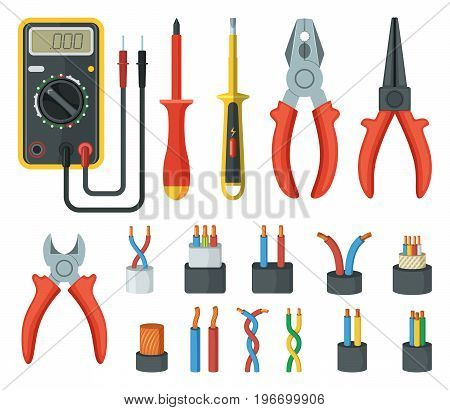 Electrical cable wires and different electronic tools. Cutter, multimeter. Vector illustrations isolated multimeter and electronic tool equipment, screwdriver and tester