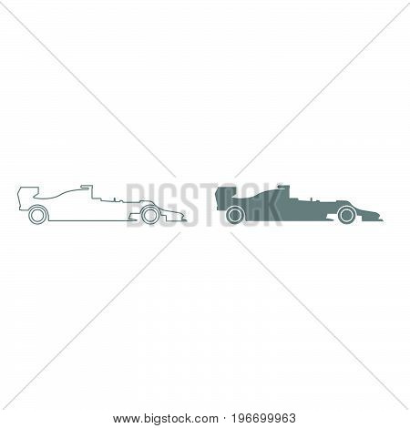 Silhouette Of A Racing Car Grey Color Set Icon .
