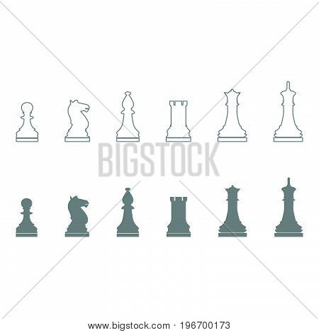 Chess Pieces Grey Color Set Icon .