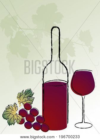 Abstract background with vine leaves bottle and wineglass