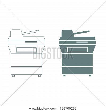 Multifunction Printer Or Automatic Copier Grey Color Set Icon .