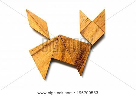 Wood tangram puzzle in cat walking or running shape on white background