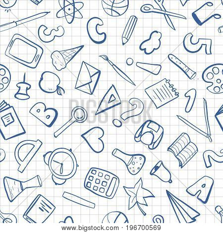 Welcome back to school. Freehand drawing school items on a sheet of exercise book. Seamless pattern. Vector illustration.