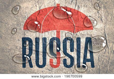 Russia word under umbrella. Bad weather metaphor