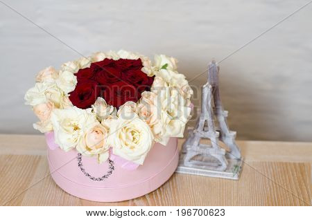 Gift Pink Box With Beautiful Bouquet Of Blooming Red And White Roses Standing On The Wooden Table. S