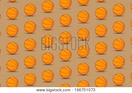 Basketball ball on brown background - vector pattern