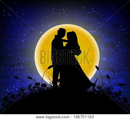 Lovers alone against the backdrop of the full moon, vector art illustration.