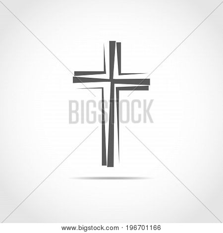 Gray Christian cross icon. Simple Christian cross on light background. Vector illustration.