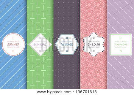 Collection of seamless geometric patterns - colorful minimalistic backgrounds. Stylish decorative label set.