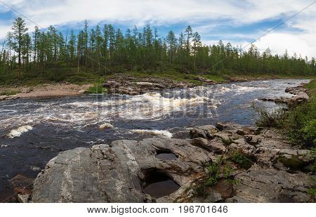 Threshold on the Gorbylakh River in South Yakutia Russia