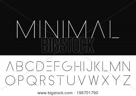 Thin minimalistic font. Elegant english alphabet. Futuristic design