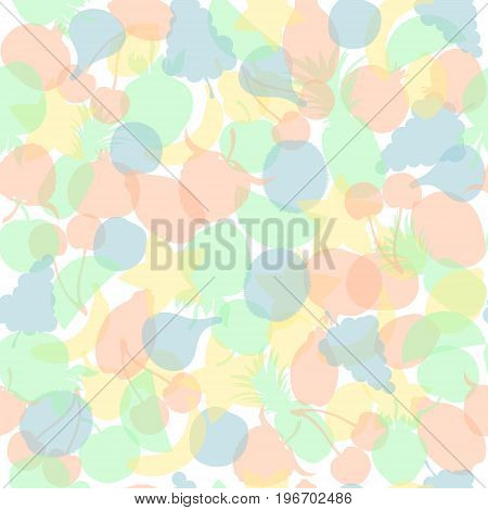 Seamless Pattern with Translucent Multi Colored Fruits Made in Simplistic Flat Style. Pastel Motley Background Fit for Textile, Paper Print or Web Usage.