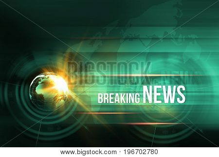 Graphical breaking news background with earth globe and lens flare