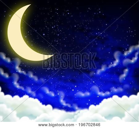 Half moon in the night starry sky, vector art illustration night.