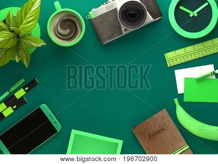 Top down view of modern work space office desk with essentials including coffee office plant mobile device camera food snacks and business tools - in green. 3D illustration render.