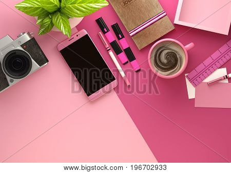 Top down view of modern work space office desk with essentials including coffee office plant mobile device camera food snacks and business tools - in pink. 3D illustration render.